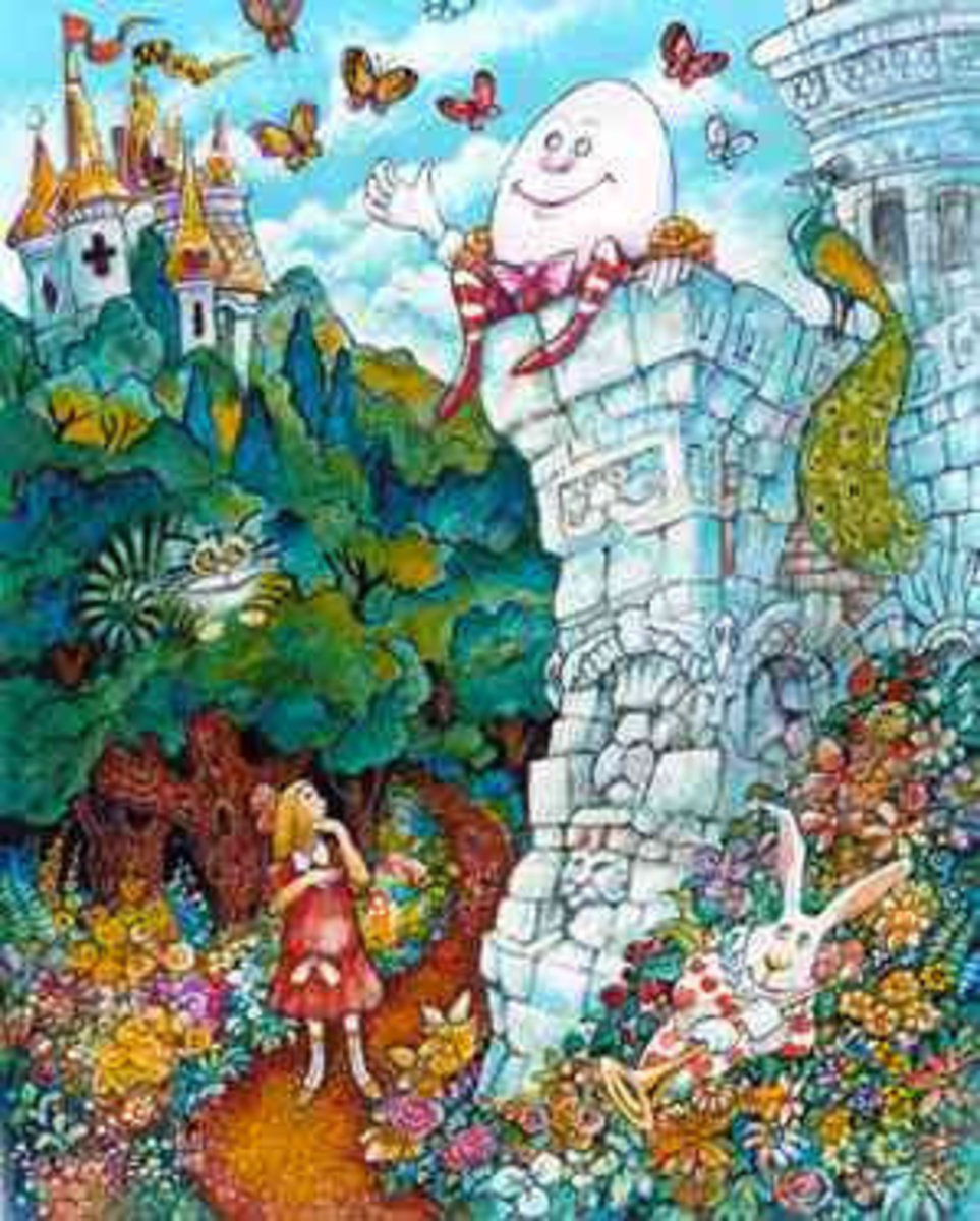 Alice And Humpty Dumpty Wallpaper Mural
