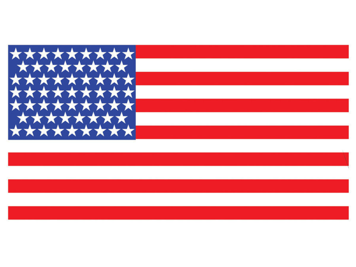 American Flag On White Background Additional Thumbnail