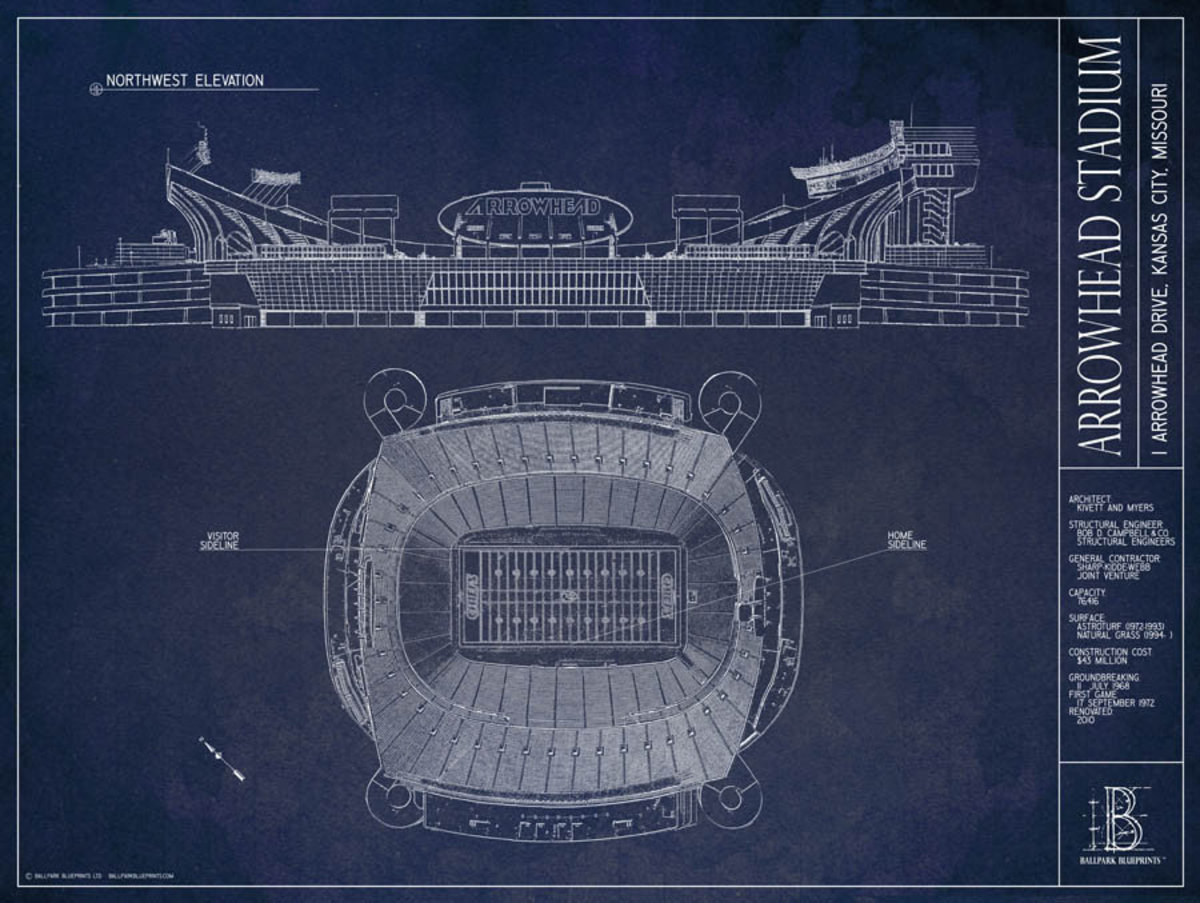 Arrowhead Stadium Blueprint Wallpaper Mural