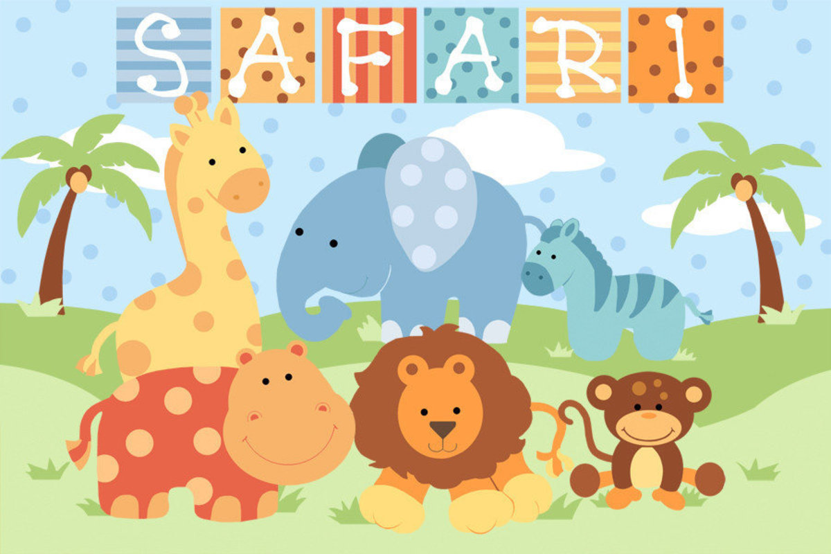 Safari image for baby boy filled with adorable animals like a lion, giraffe, elephant, hippo, monkey, and zebra