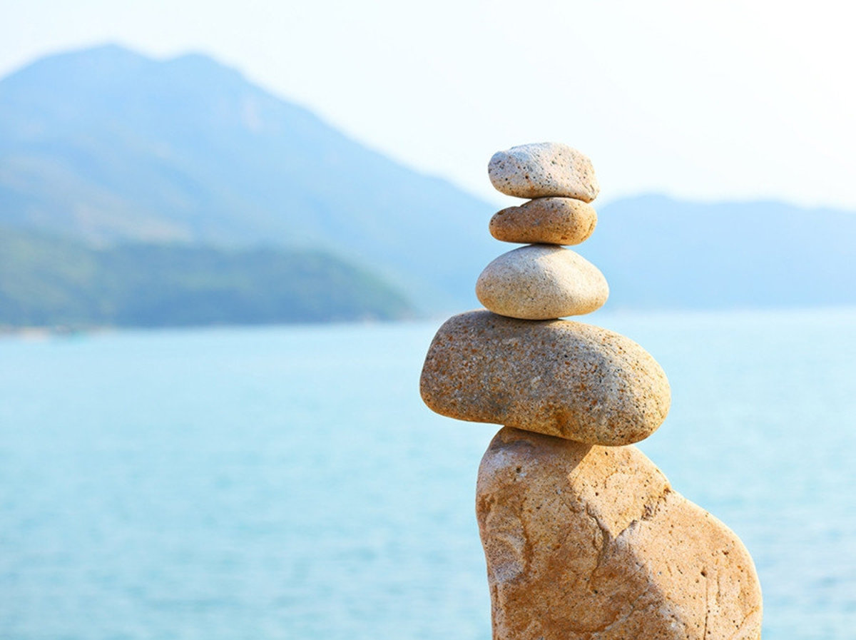 Zen wallpaper of stacking rocks balancing perfect for meditation and harmony Sample