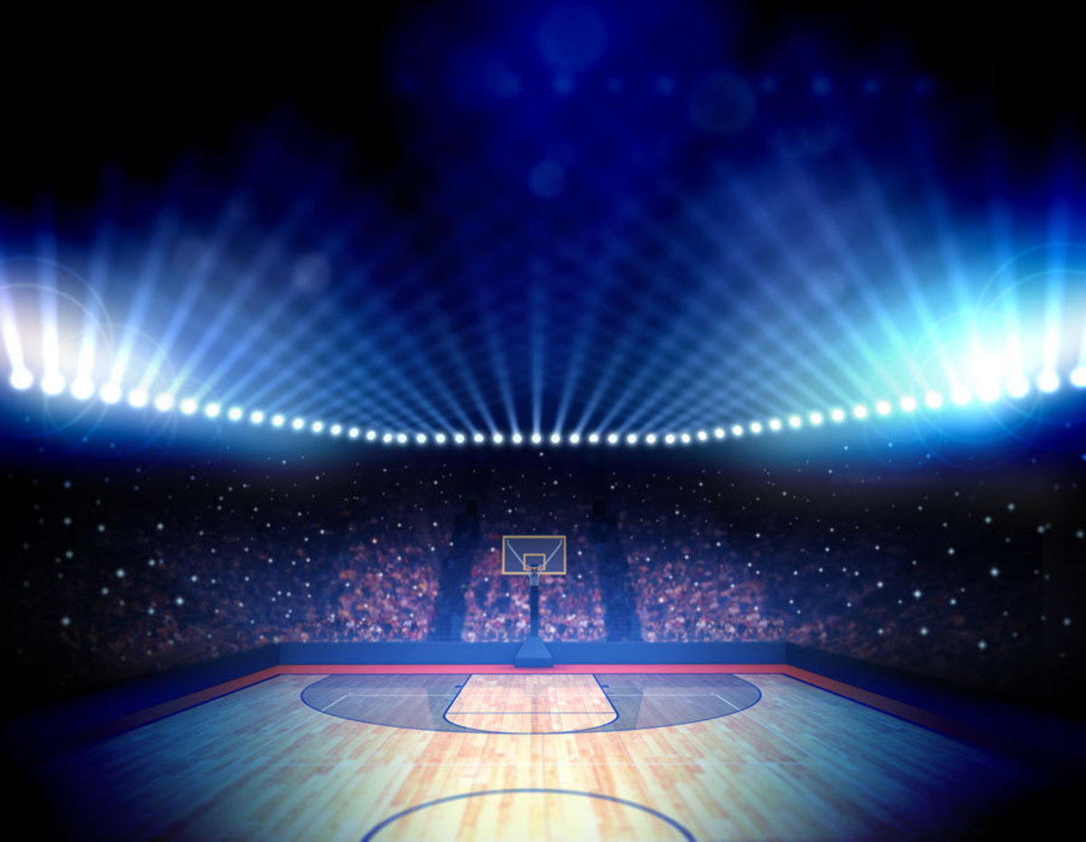 Background of a basketball court and stadium sports wallpaper mural Sample