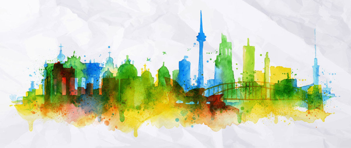 Portrayed in dreamy watercolors, the Berlin skyline is silhouetted in splashes of colors Additional Thumbnail