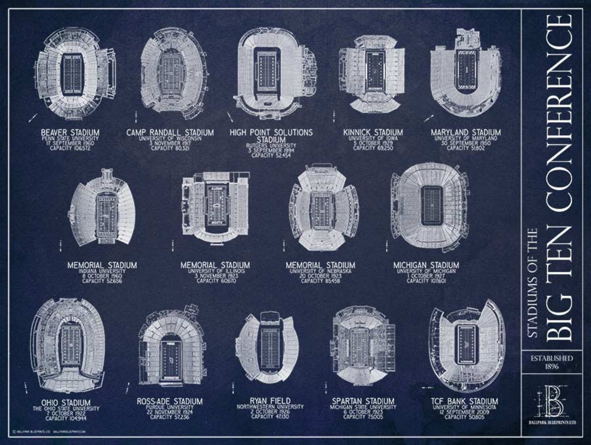 Big Ten Conference Blueprint Wallpaper Mural