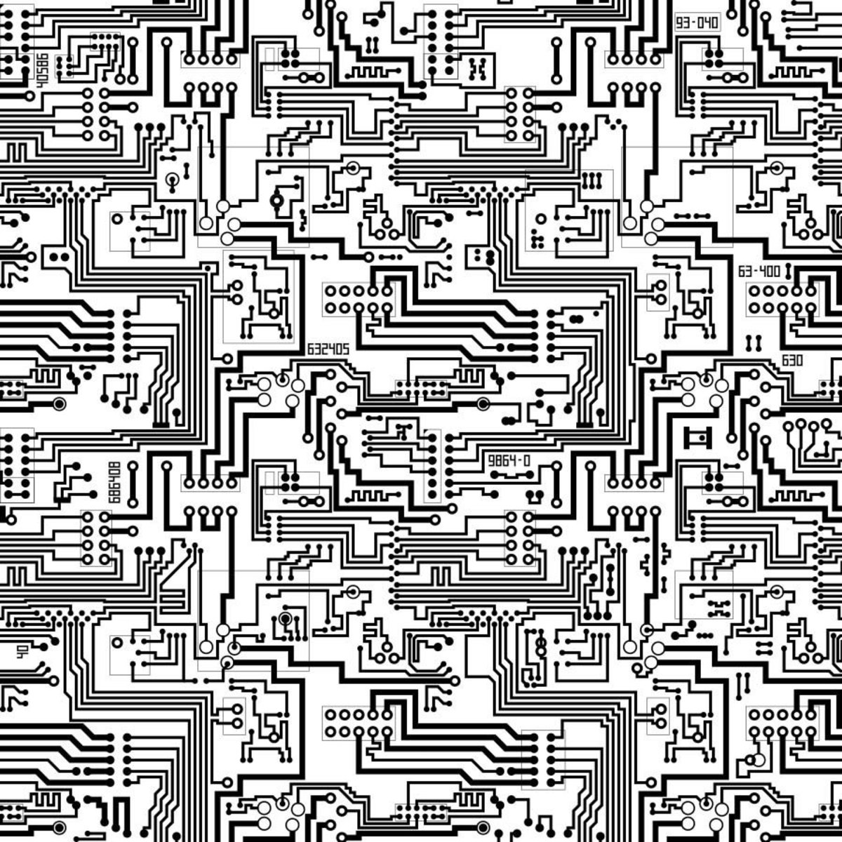 Black And White Circuit Board Mural Murals Your Way