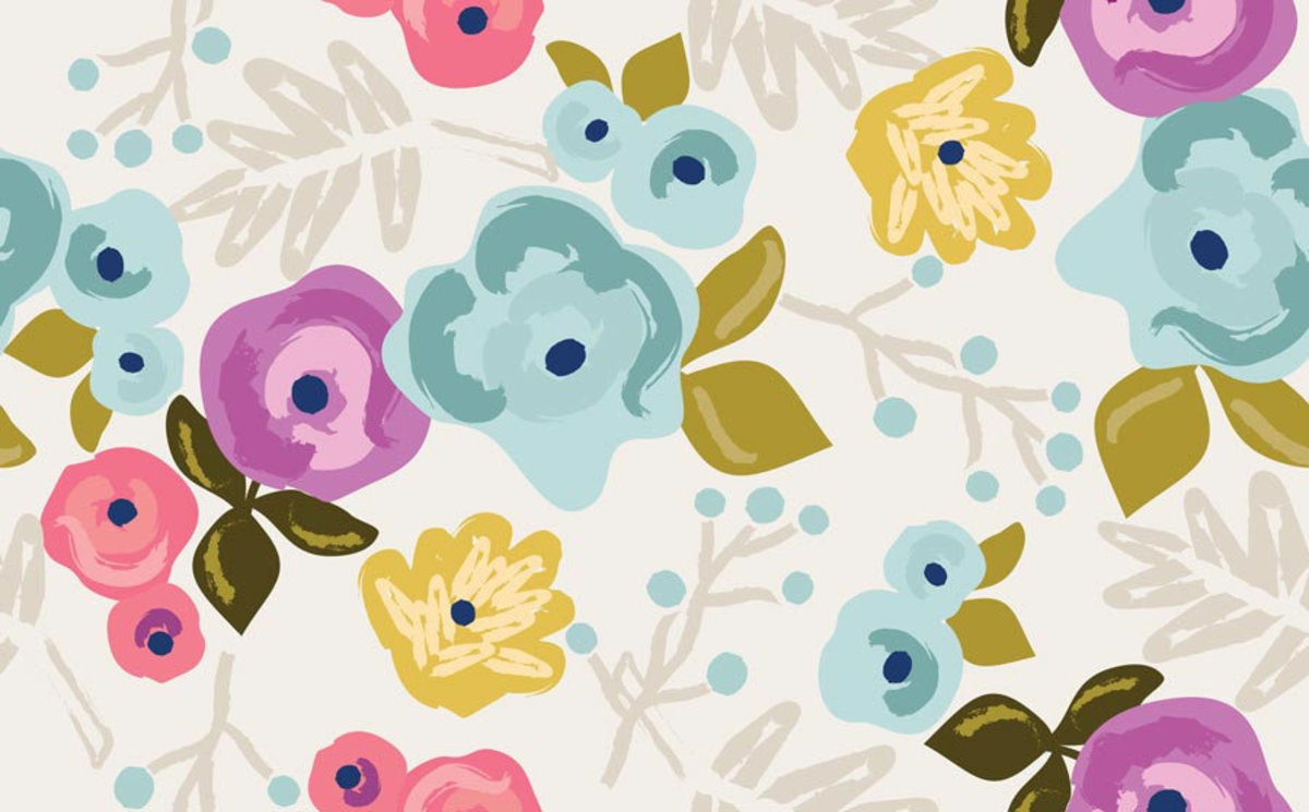 Bloom Pattern With Ecru Background Mural Wallpaper Sample