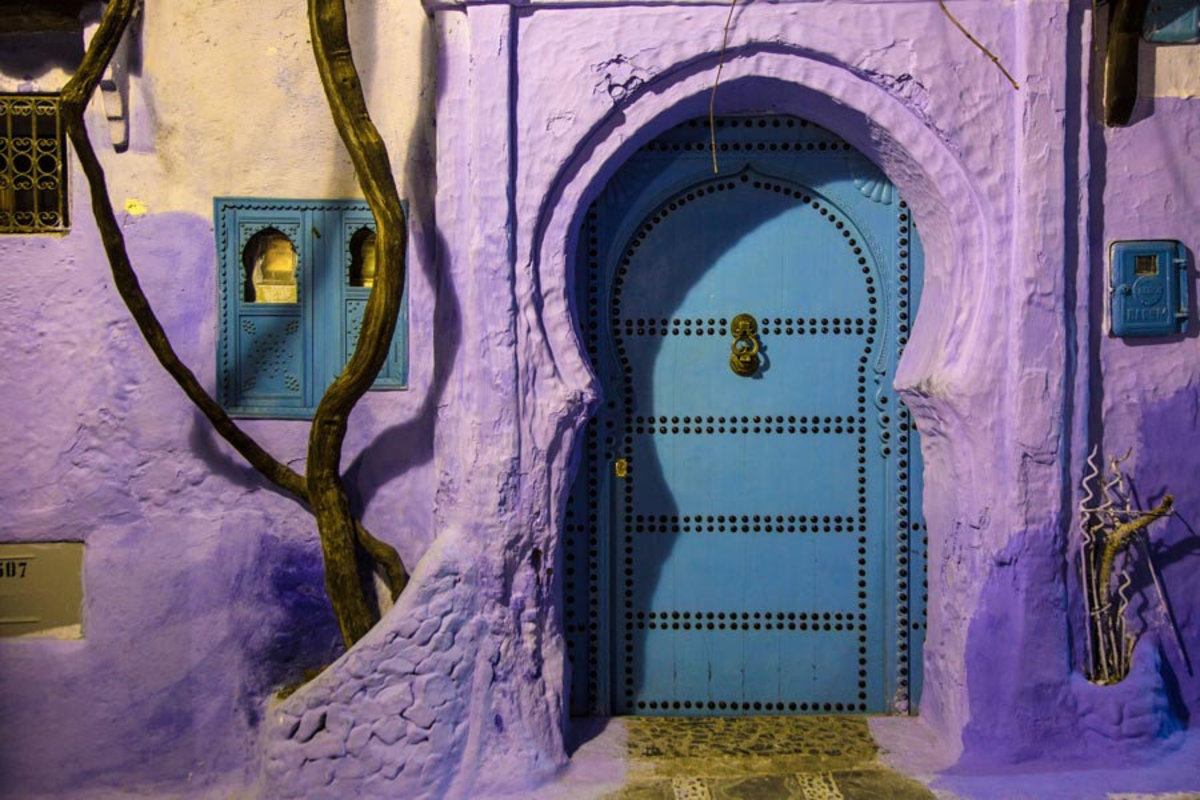 Blue Door In Chefchaouen, Morocco Mural Wallpaper Sample