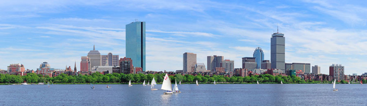 Charles River in Boston with sailboats on the water on a sunny day Sample