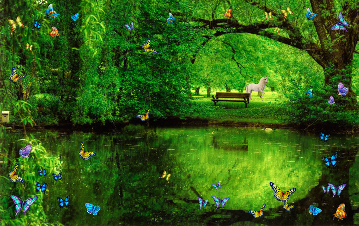 Butterfly Pond With Unicorn Wall Mural Sample