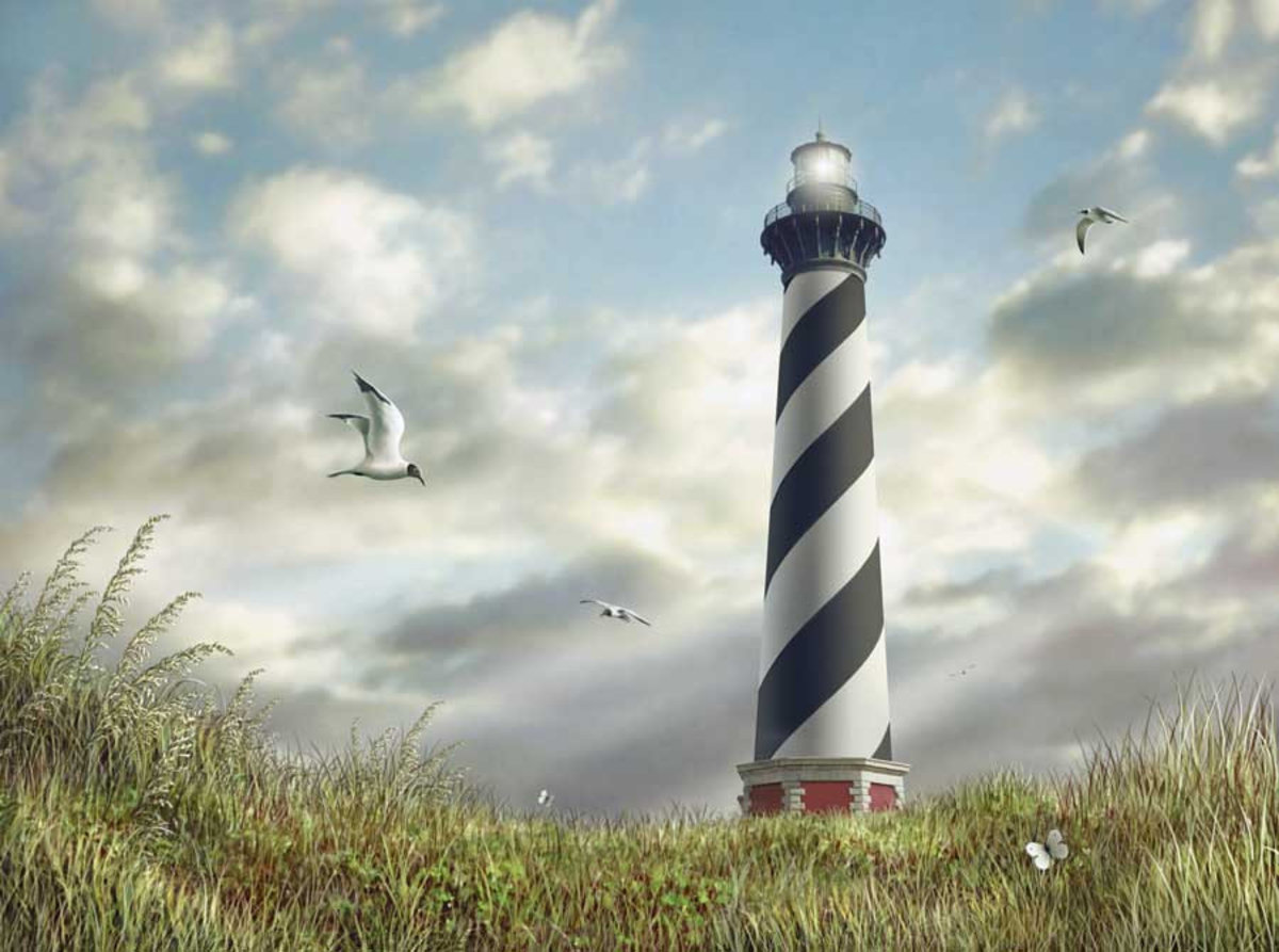 Cape Hatteras Light Mural Wallpaper Sample