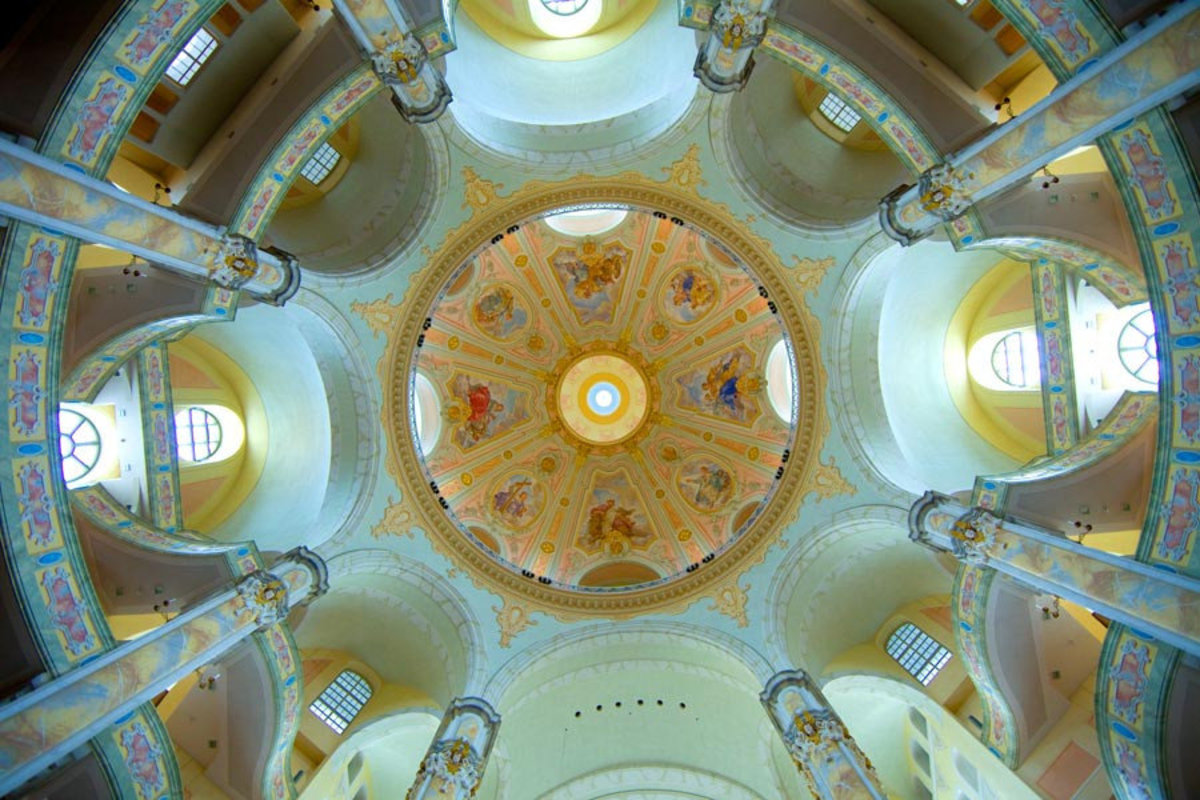 Ceiling of the Frauenkirche, Dresden Cathedral, Dresden, Germany  Mural Wallpaper Sample