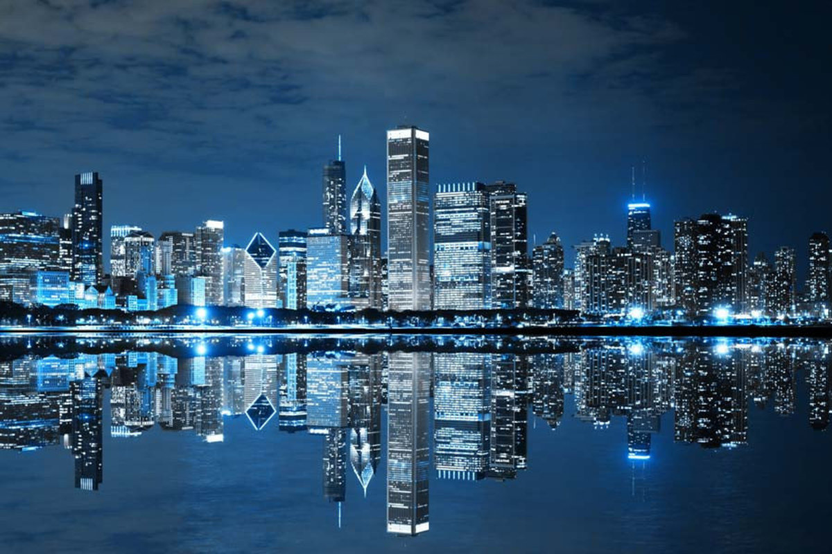 Electric Blue Chicago Mural Wallpaper