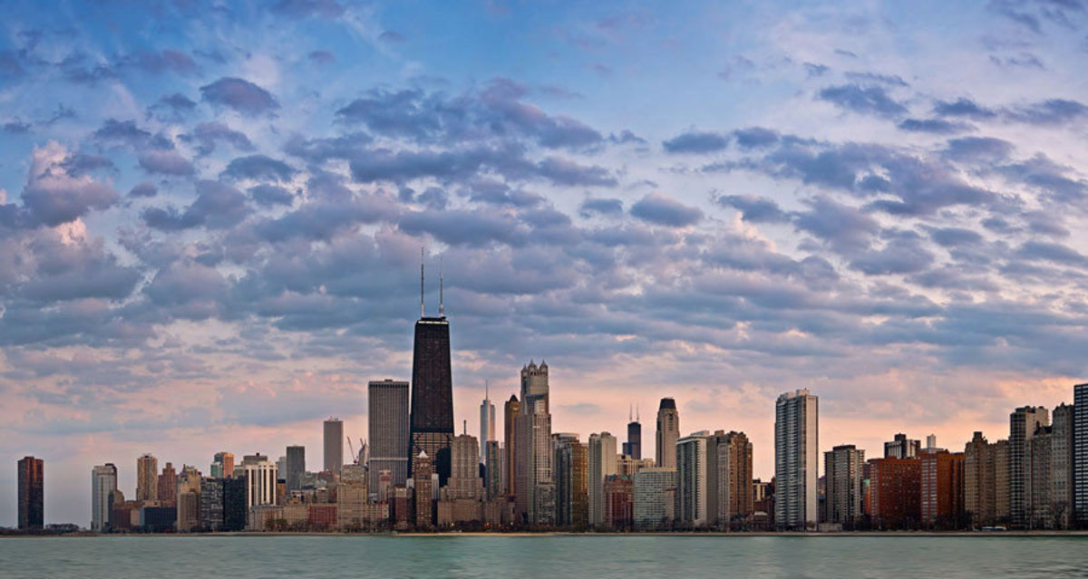 Pink Chicago Skyline Wall Mural