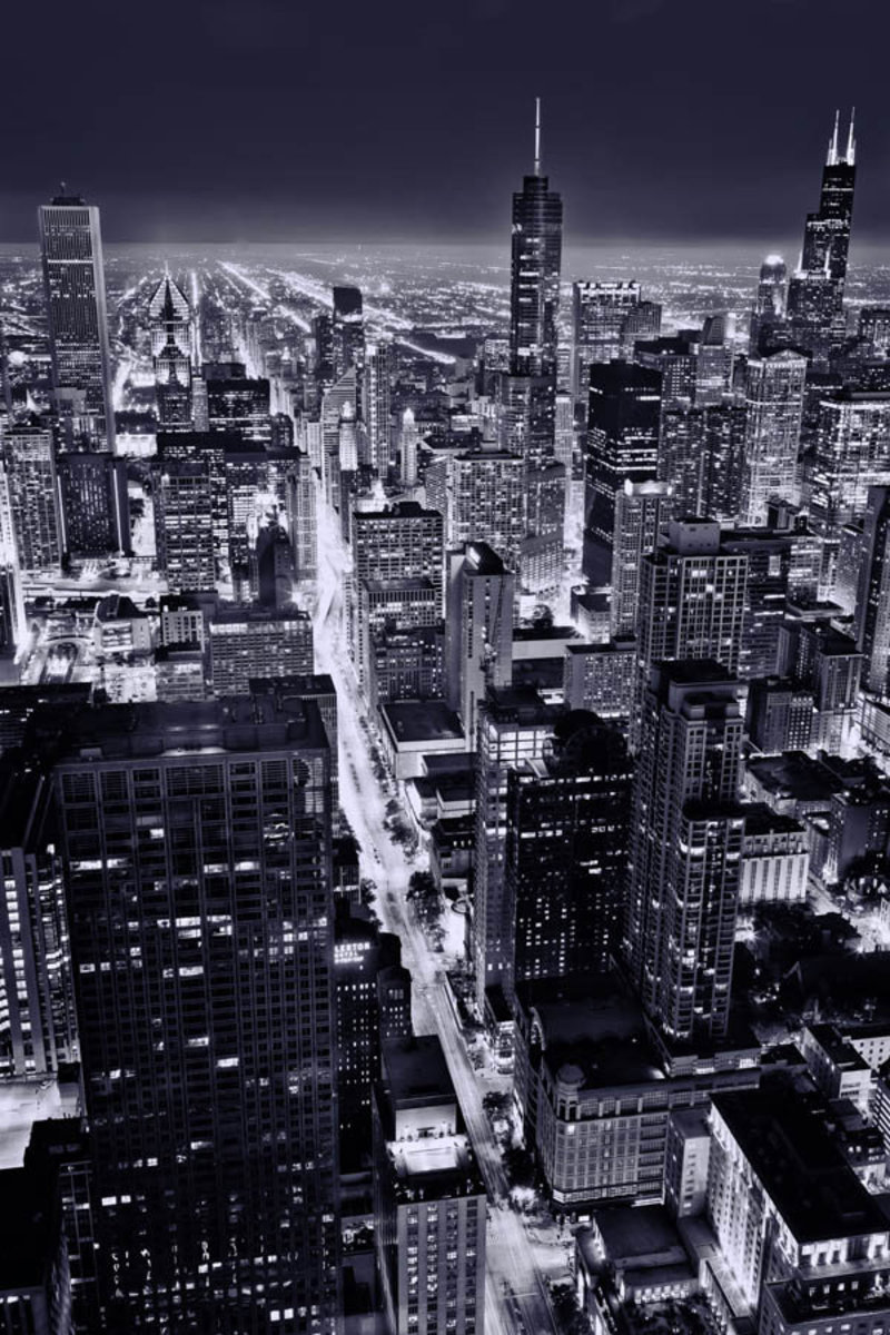 City Of Chicago At Night  Wallpaper Mural Sample