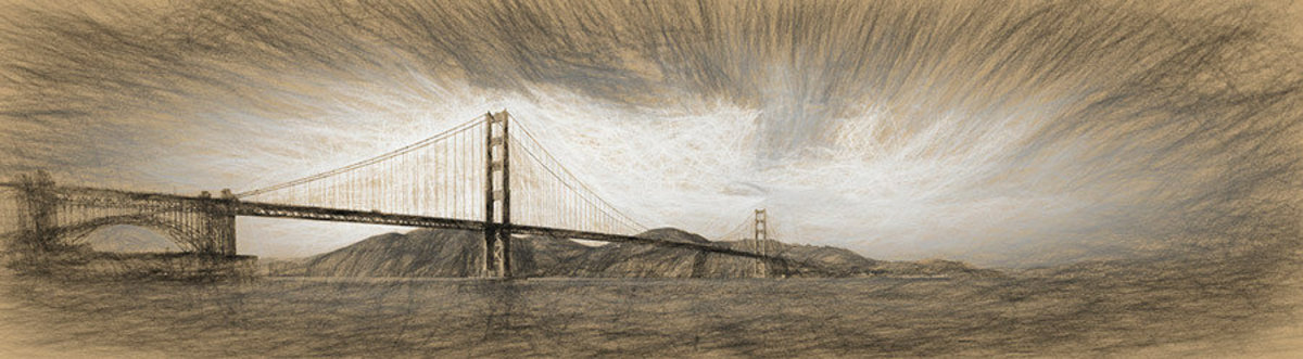 Clouds Over Golden Gate Bridge Wall Mural Sample