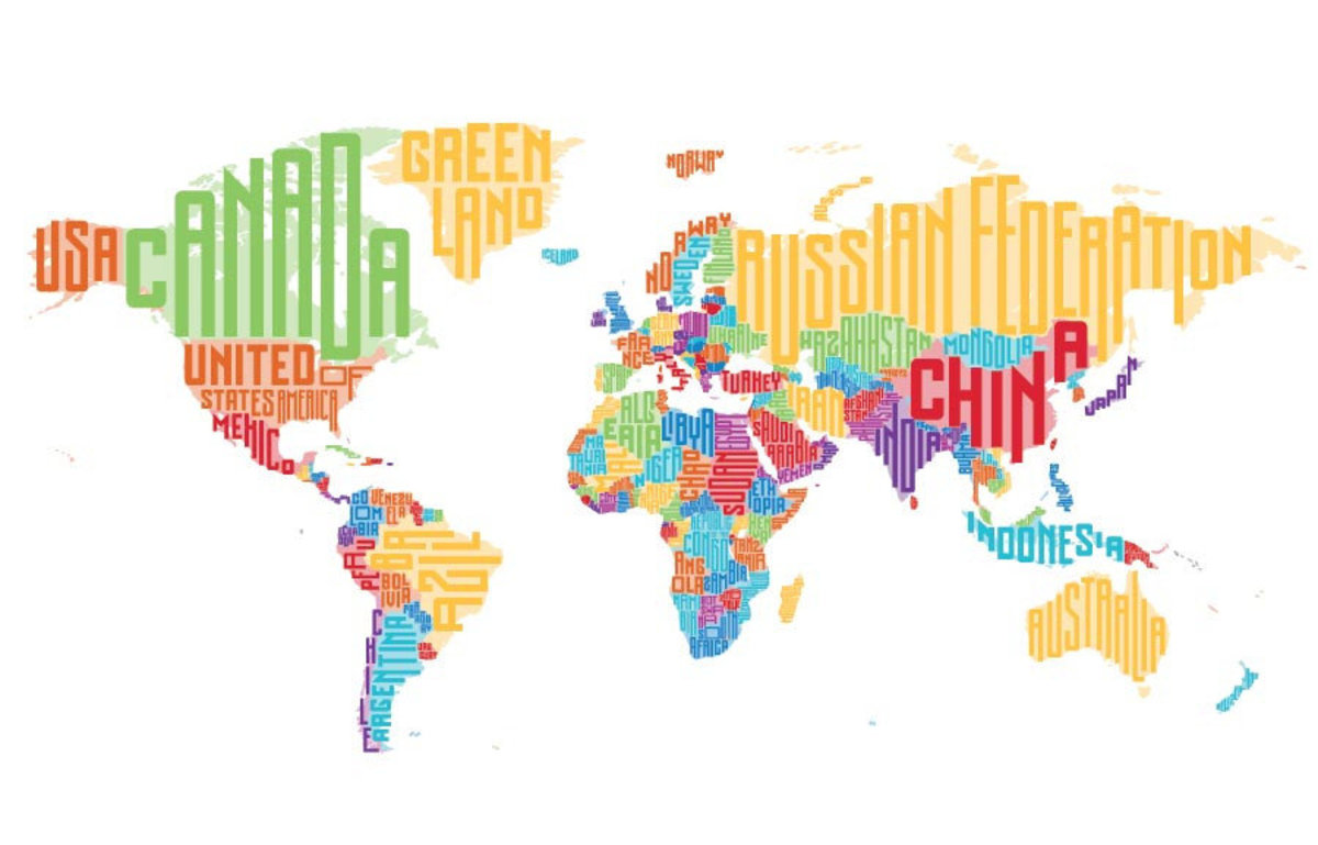 Colorful World Map Word Cloud Wallpaper Mural