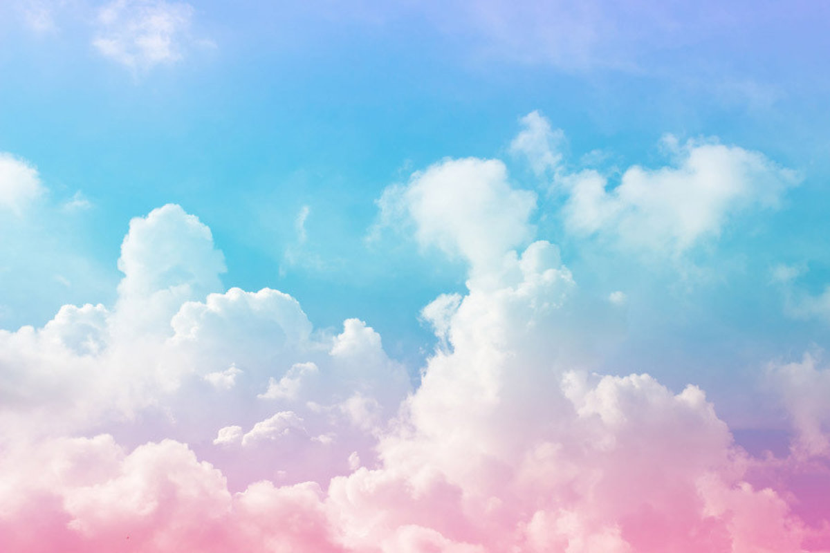 large clouds with pink and blue pastel color scheme resembles cotton candy Additional Thumbnail