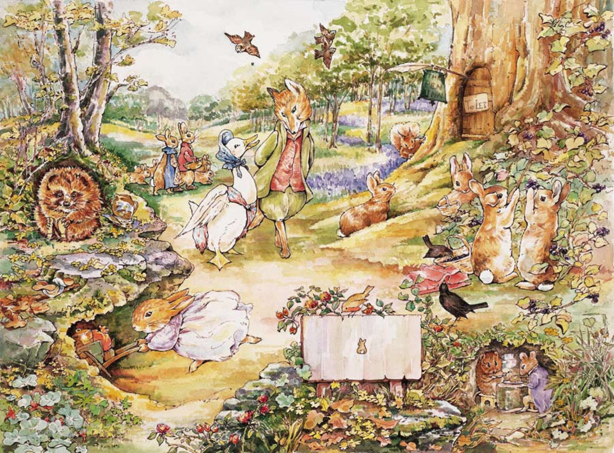 Beatrix Potter Forest wallpaper with Peter Rabbit and other woodland animals Sample