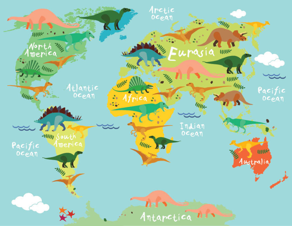 Cute and colorful map of the world filled with illustrations of prehistoric dinosaurs