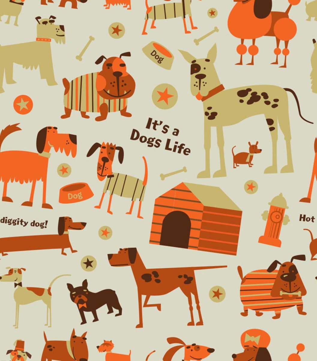 Dogs - Beige Wallpaper Sample