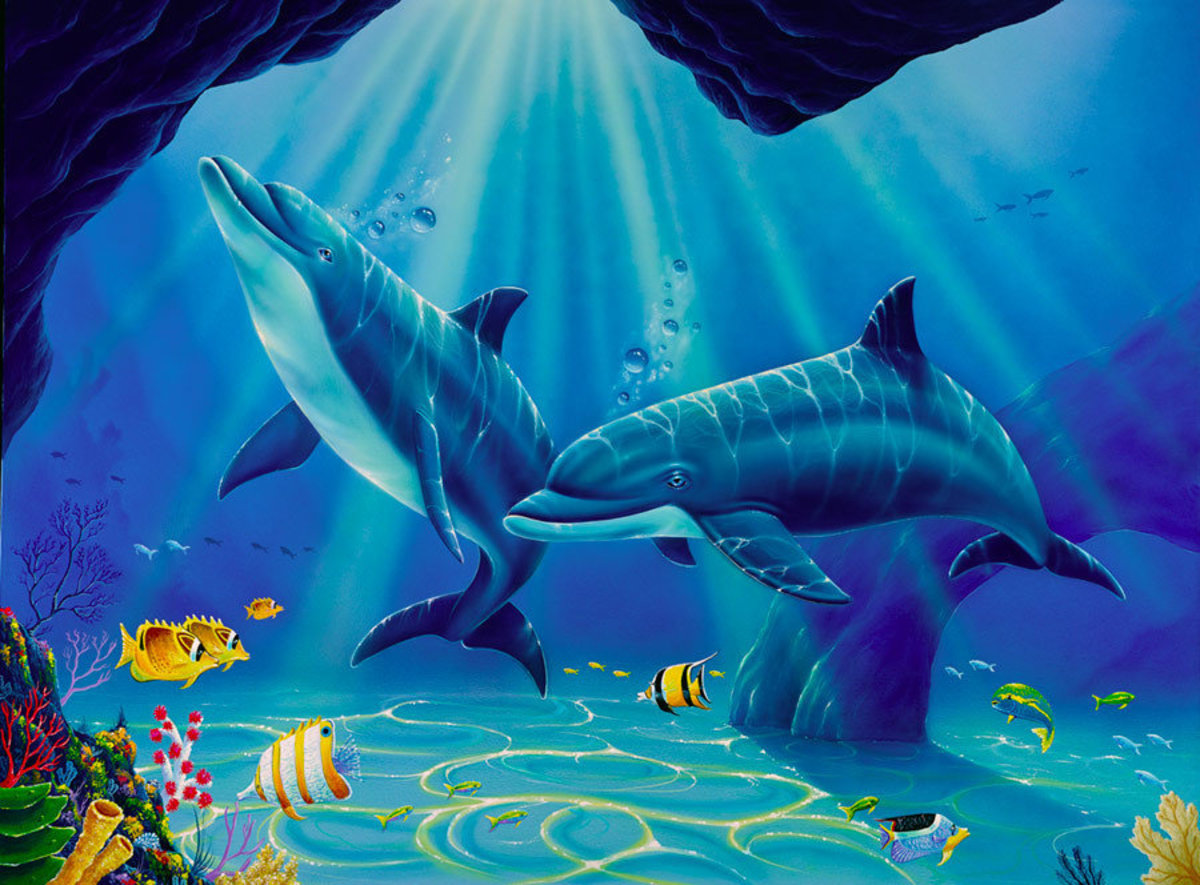 Jeff Wilkie painting of a beautiful dolphin swimming underwater in the ocean with fish, beluga whale, reef, and cave Additional Thumbnail