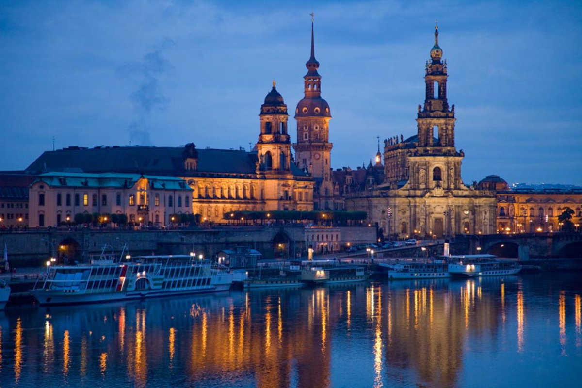 Dresden, Germany and the Elbe River  Wallpaper Mural