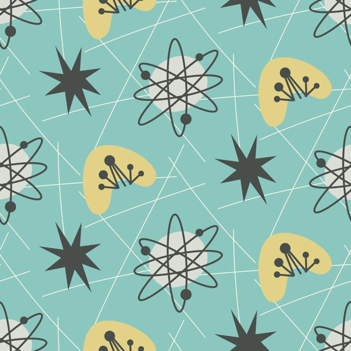 Atop a pale blue background, atomic and starlike motifs are scattered about Sample