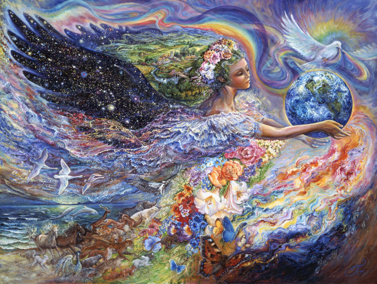 Picture of a beautiful angel holding the Earth and surrounded by colorful flowers, wild animals, and mythology motifs