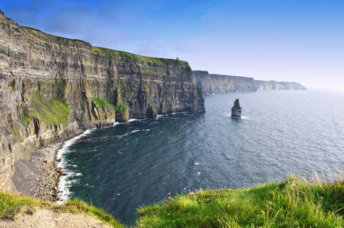 Sun shines down upon the cliffs of Moher in Ireland Sample