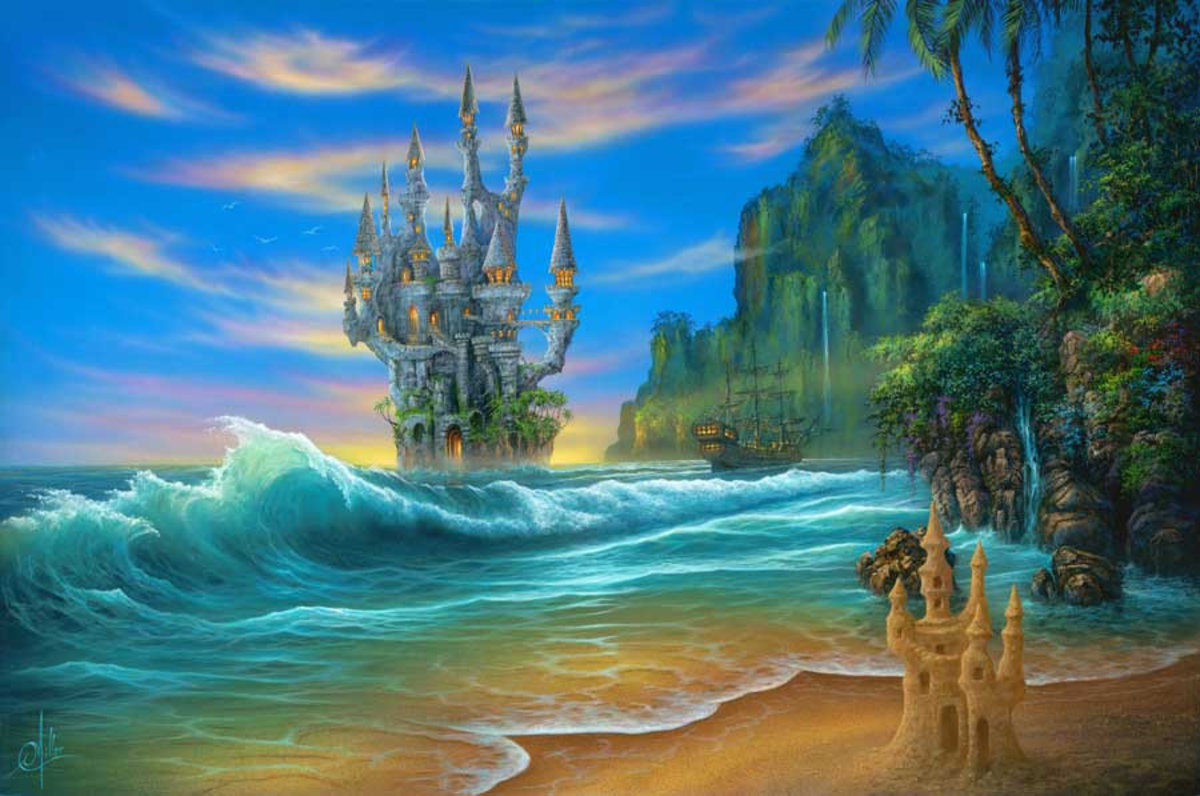 Fantasy beach painting with ocean waves crashing onto shore with a castle and ship in the distance
