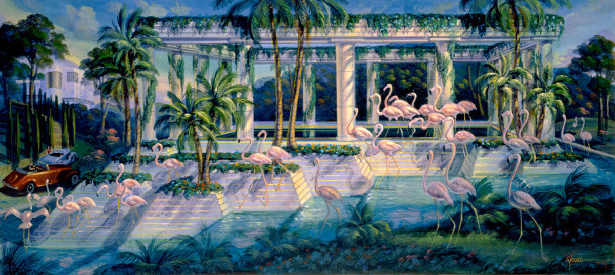 Flamingos on Parade Wall Mural Sample