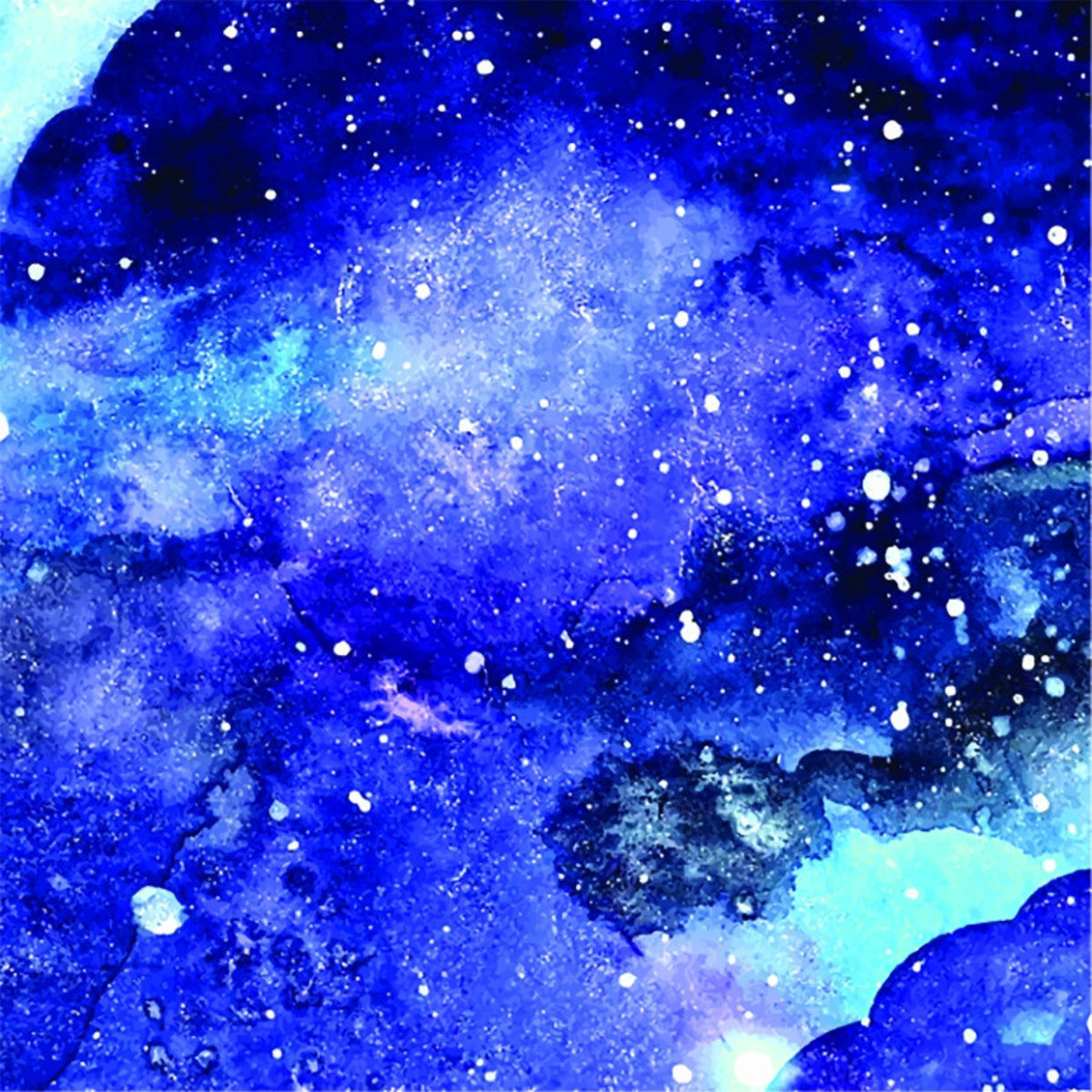 Watercolor painting of a blue and purple galaxy with stars Additional Thumbnail