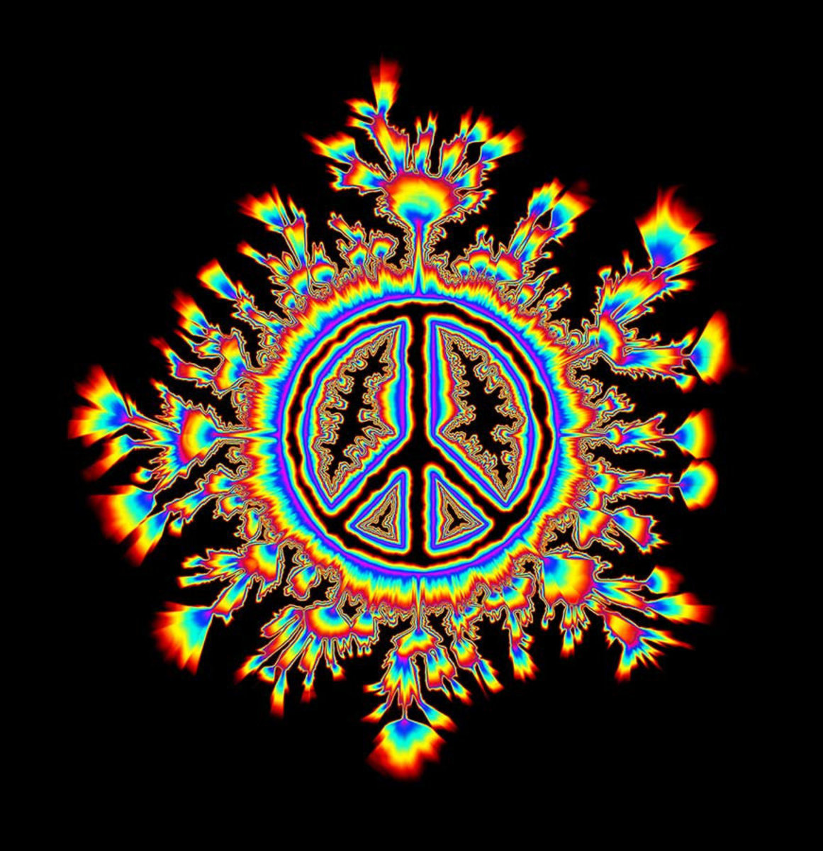 Glowing Psychedelic Peace Sign Wallpaper Mural Additional Thumbnail