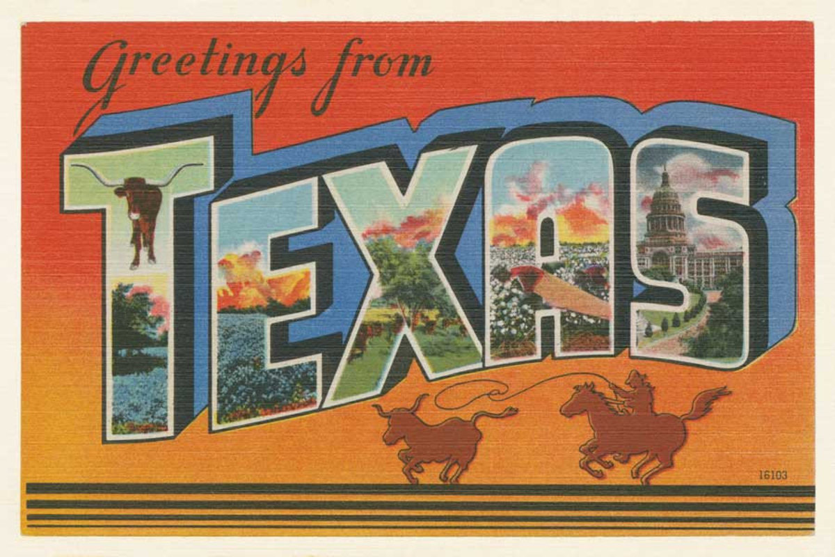 Greetings From Texas Wallpaper Mural at scale