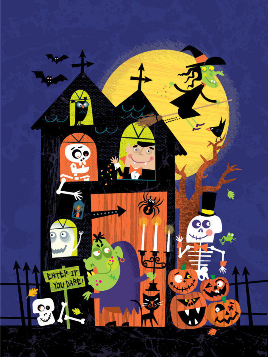Haunted halloween house with ghosts, montsters, vampires, witches and more wall mural