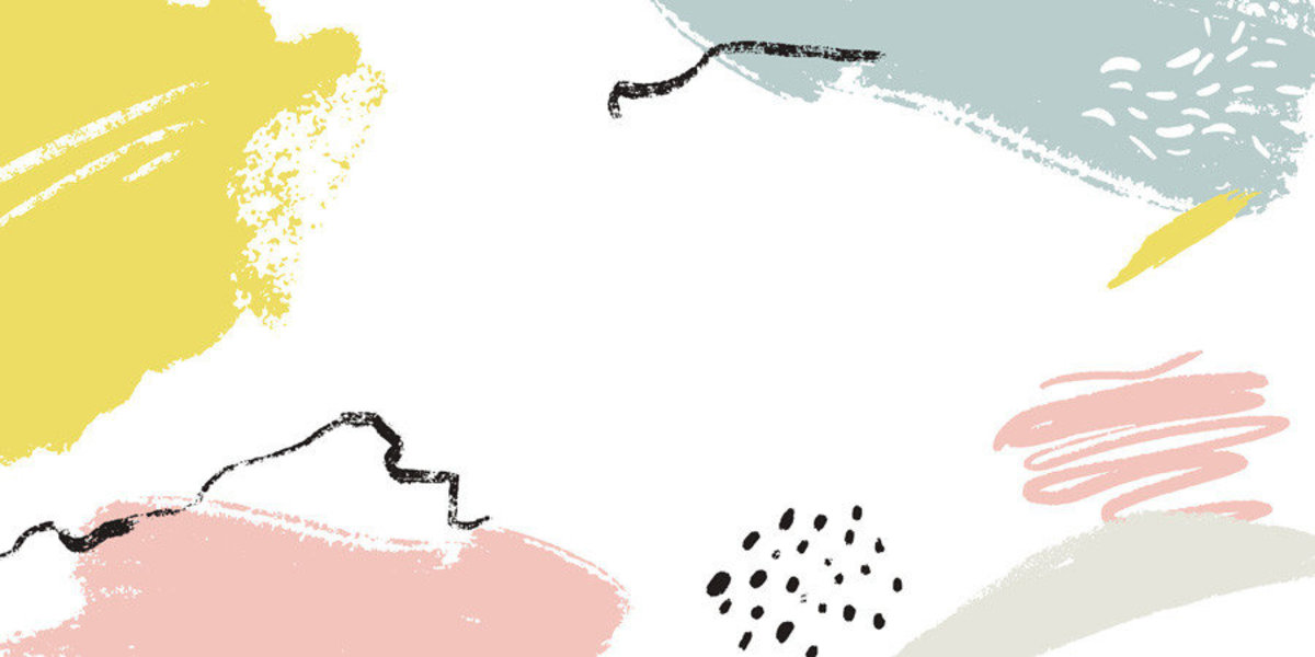 Hand Drawn Memphisl design has splatters of yellow, pink, and blue.  Additional Thumbnail
