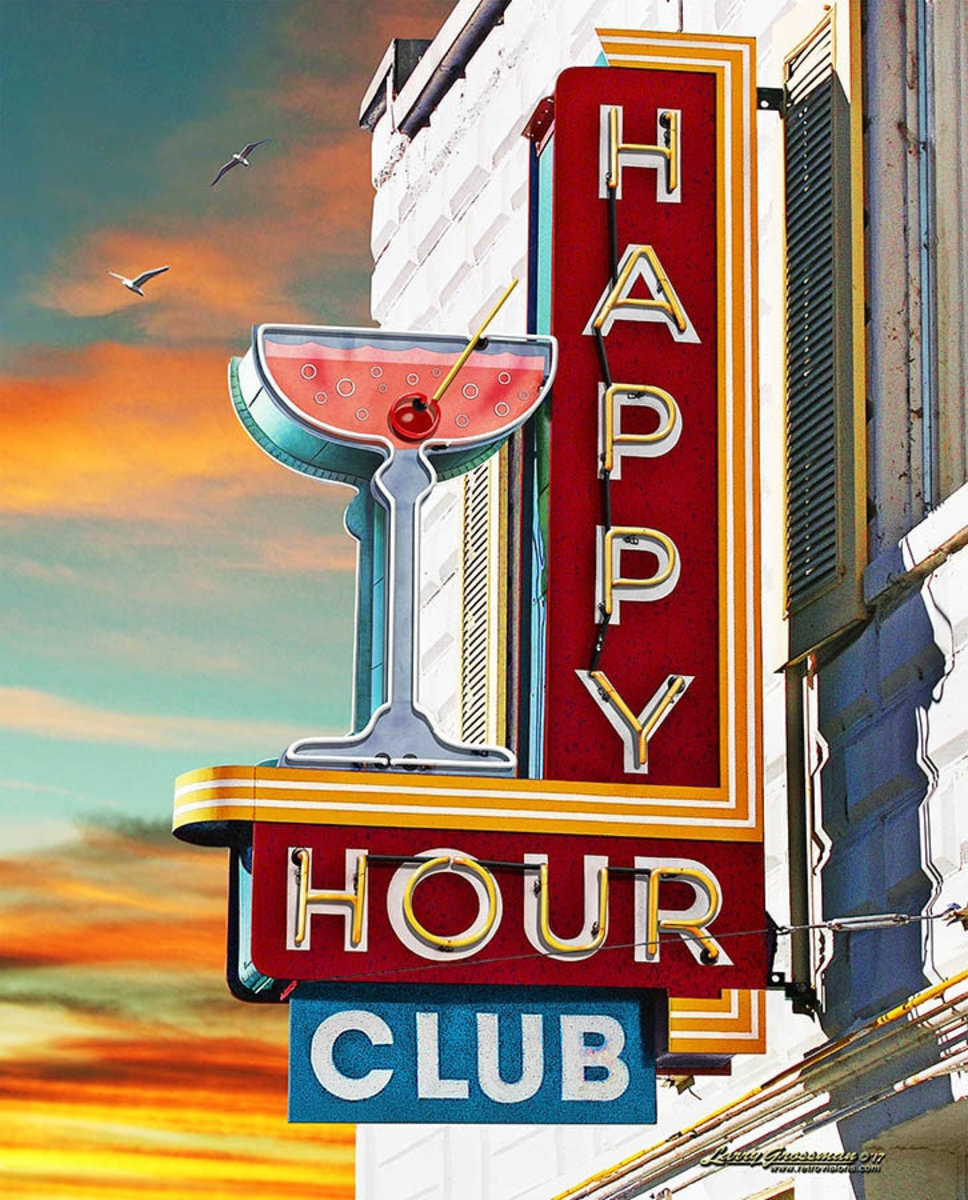 Happy Hour Club Wall Mural Sample