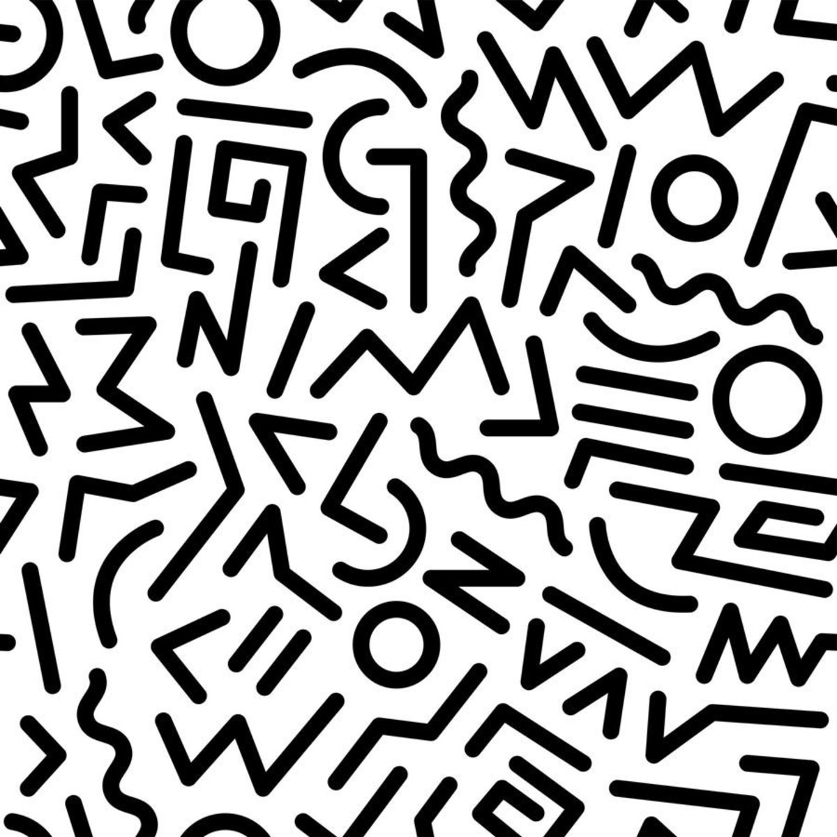 combination of organic and linear shapes, this scribble-like pattern