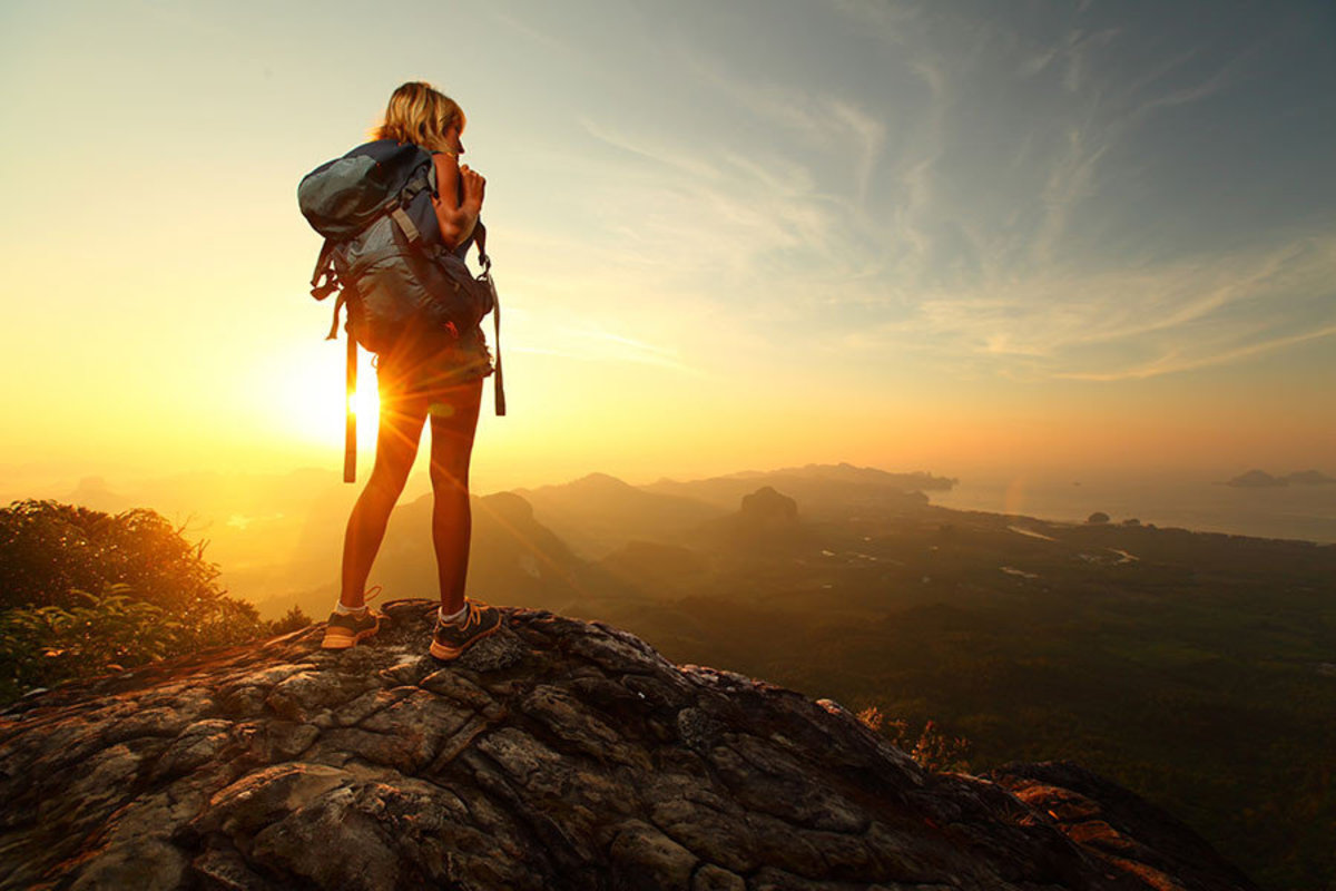 Hiker on Top of a Mountain Wall Mural Additional Thumbnail