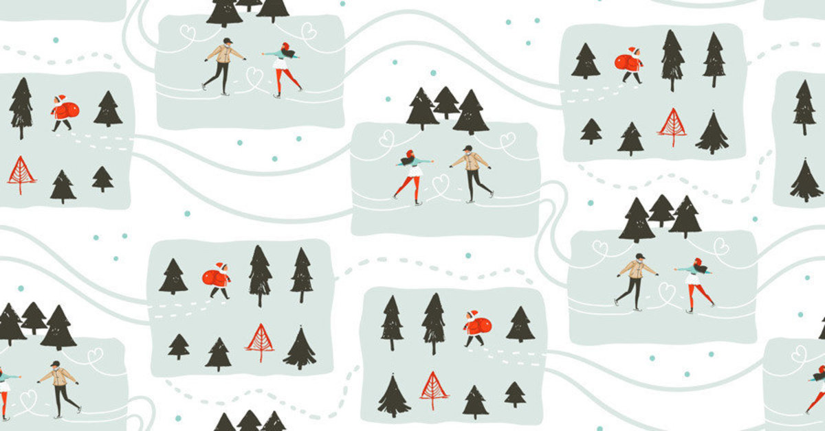 Couple iceskating on a frozen pond with pine trees are scattered pattern Sample