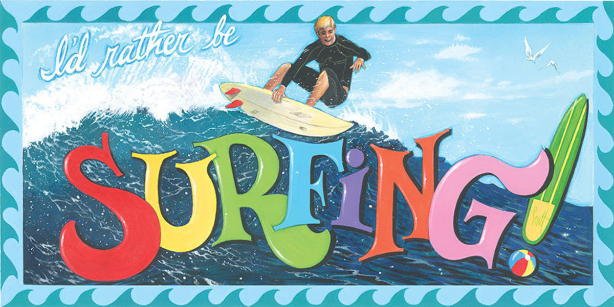 I'd Rather Be Surfing Wallpaper Mural Sample