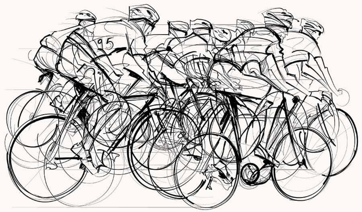 Cycling Race Illustration Wallpaper Mural Sample