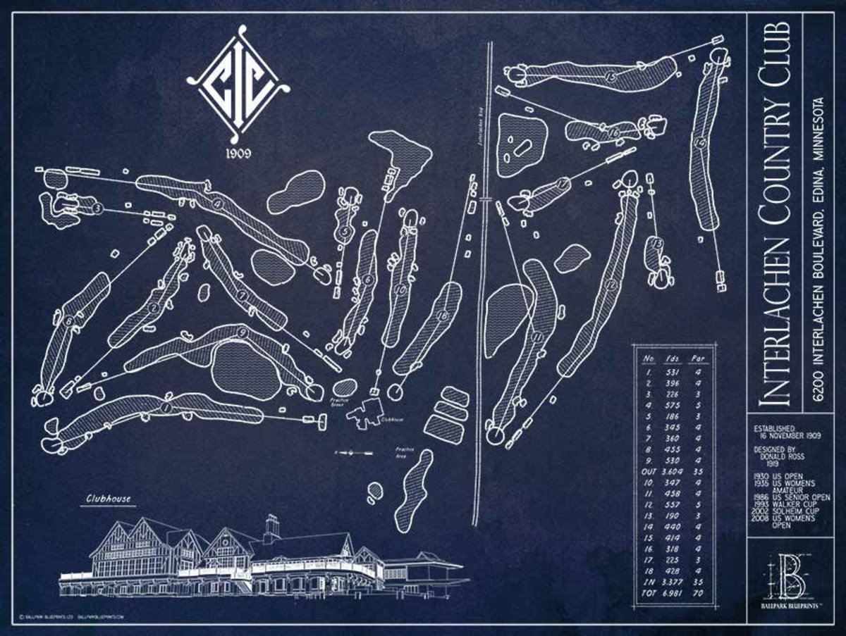 Interlachen CC Golf Course Blueprint Wallpaper Mural