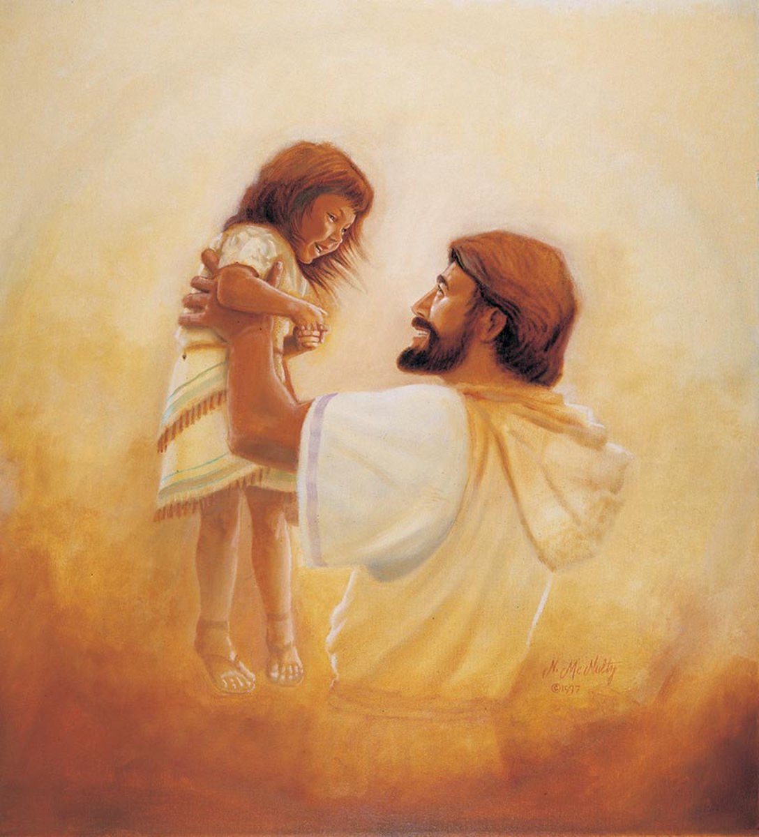 Jesus And The Girl Wall Mural Sample