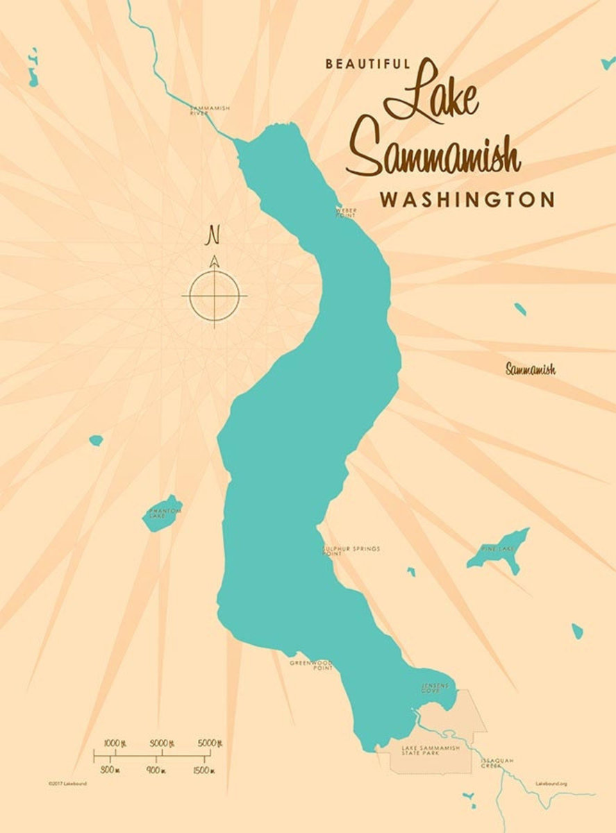 Image for Lake Sammamish, WA Lake Map wall mural