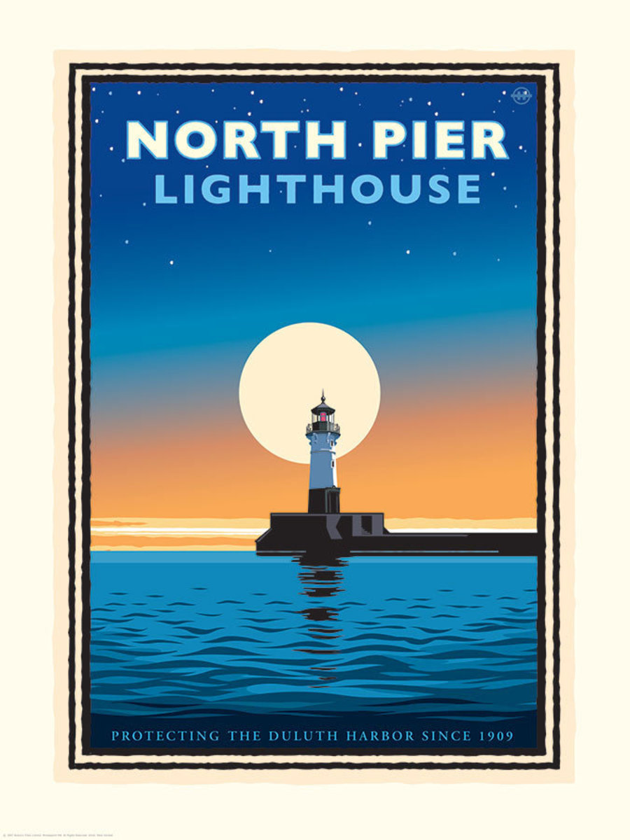 Lake Superior North Pier Lighthouse Wallpaper Mural Sample