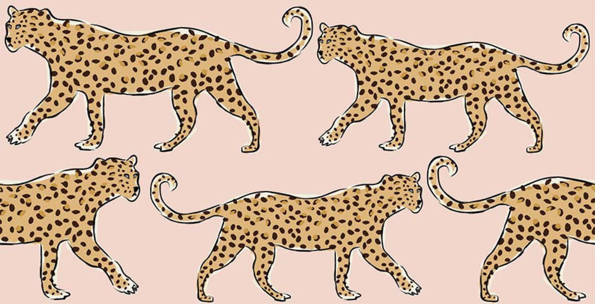 Leopards On Blush Background Mural Wallpaper