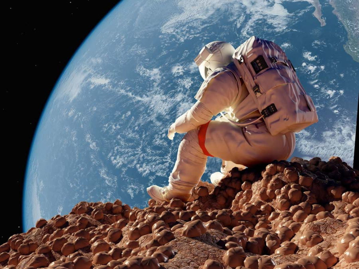 A lone astronaut sits on a deserted planet with Earth in the distance Sample