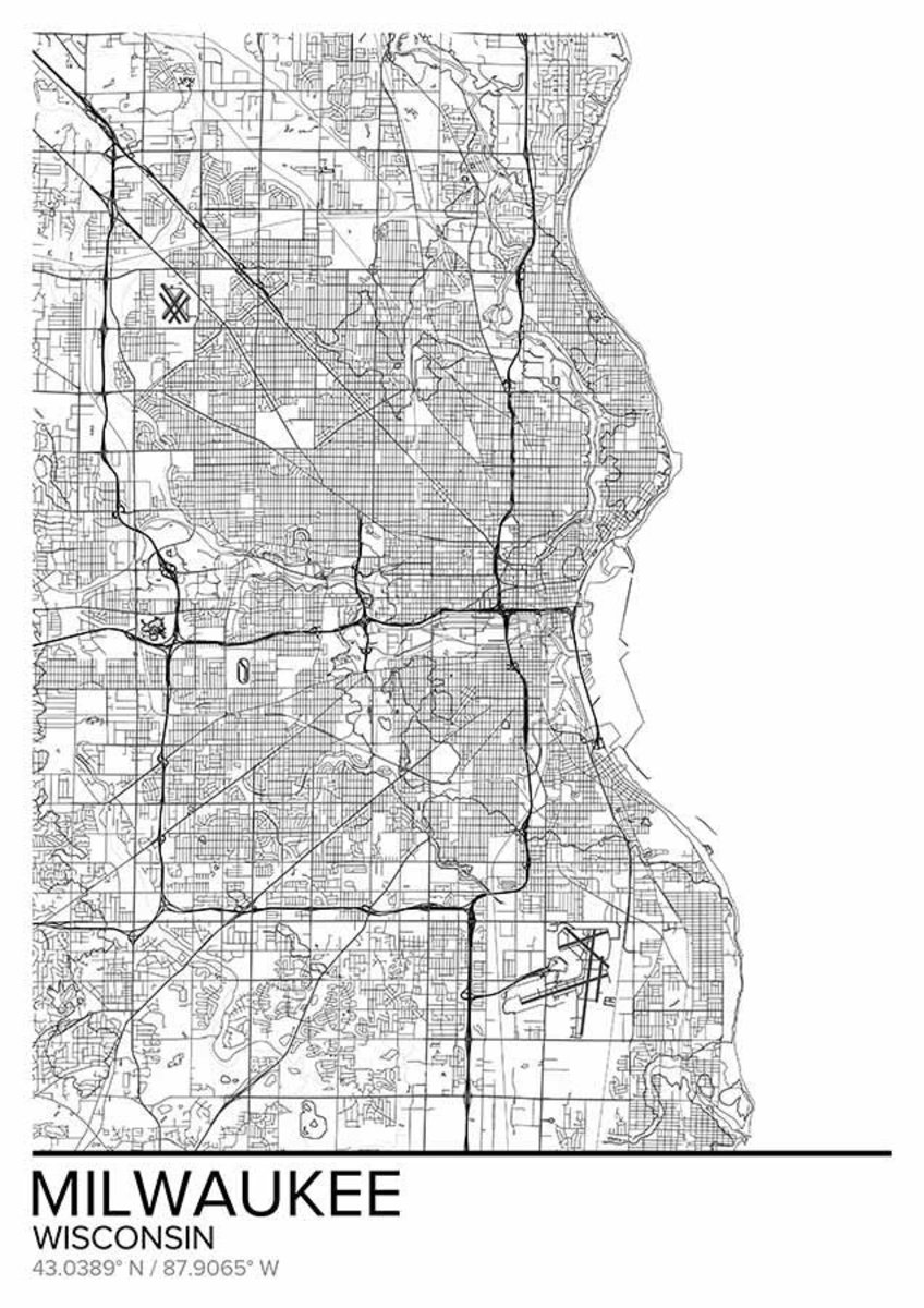 Map Of Milwaukee Wisconsin Wallpaper Mural Additional Thumbnail