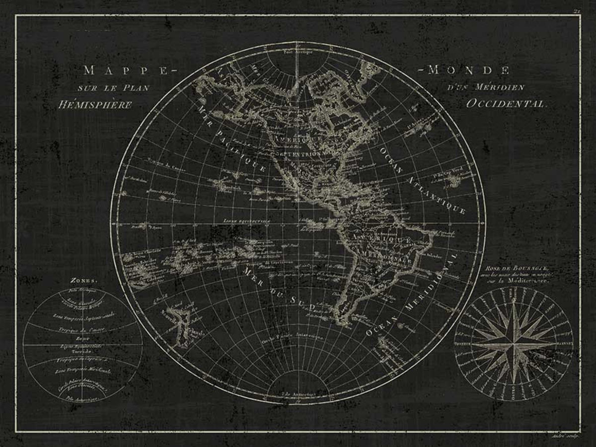 Mappemonde Etching Wall Mural
